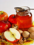 Apple with honey. And nut Stock Images