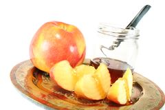 Apple with Honey jar Royalty Free Stock Photography