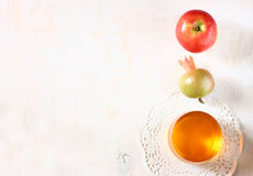 Apple, honey and pomegranate symbols of rosh hashanah holiday. Royalty Free Stock Photography