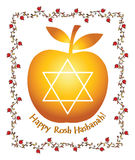Apple  with honey for Rosh Hashana – jewish new year Royalty Free Stock Images