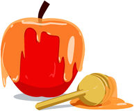 Apple And Honey For Rosh Hashanah. Vector illustration of honey and apple for Rosh Hashanah the Jewish new year stock illustration