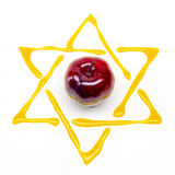 Apple and honey. Star of david and apple for rosh hashana Stock Images