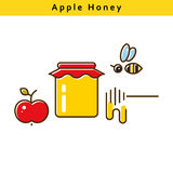 Apple honey vector colored line icons. Royalty Free Stock Images
