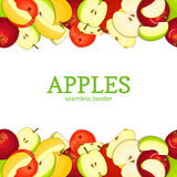 Apple Horizontal seamless border. Vector illustration card top and bottom Yellow red  green apples fruits whole  slice Stock Image