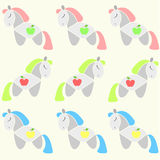 Apple-Horses. A background with different color-hair horses stock illustration