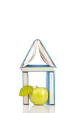 Apple and house from books royalty free stock images
