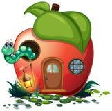Apple house with caterpillar inside. Illustration vector illustration