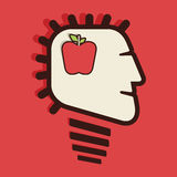 Apple in human head. Stock Royalty Free Stock Photos