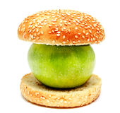 Apple in humburger Stock Photo