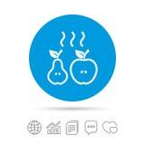 Apple i bonkrety ikona Piec gorący owoc symbol ilustracja wektor