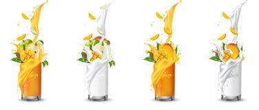 Apple i mangowy owocowego soku chełbotanie w szkło z zawijasem ilustracji