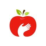 Apple i ręka wektorowy logo, etykietka, emblemata projekt Obrazy Stock