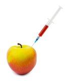 Apple i strzykawka Zdjęcia Royalty Free