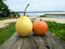 Apple i woda zdjęcie stock