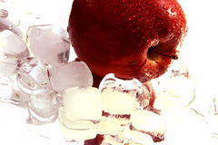Apple and Ice. On its reflection royalty free stock photos