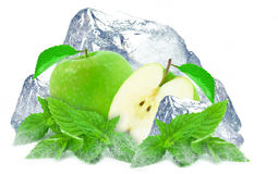 Apple. And ice isolated on a white background Stock Image