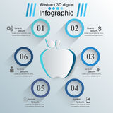 Apple icon. Abstract 3D digital illustration Infographic. Business Infographics origami style Vector illustration. Marketing info Stock Illustration