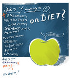 Apple icon - diet concept, freehand lettering. Apple icon, artistic painterly style with freehand lettering Stock Photo