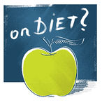 Apple icon - on diet (freehand drawing) Stock Images