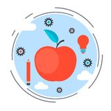 Apple icon, education, knowledge, science concept Stock Images
