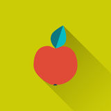 Apple icon. Apple - food icon on green field backdrop. Flat design with long shadow on  background. Trendy modern vector illustration - eps 10, for your design Stock Image