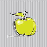 Apple icon, freehand drawing. Calligraphic line Stock Photos