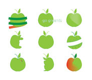 Apple icon set. Green apples icon set abstract Royalty Free Stock Photography