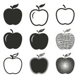 Apple icon set. Apple vector icons set. Black illustration isolated on white background for graphic and web design Royalty Free Illustration