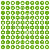 100 apple icons hexagon green. 100 apple icons set in green hexagon isolated vector illustration Stock Photos