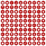 100 apple icons hexagon red. 100 apple icons set in red hexagon isolated vector illustration Royalty Free Stock Photos