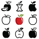 Apple icons. Apple icon collection -  outline and silhouette Royalty Free Stock Photos