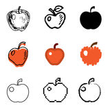 Apple icons set. Red apple icons vector set vector illustration