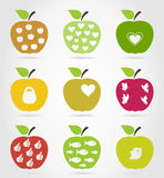 Apple icons3. Set of icons of apples. A vector illustration Stock Photo