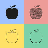Apple icons. Set of black apple icons. Vector illustration Royalty Free Illustration