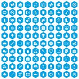 100 apple icons set blue. 100 apple icons set in blue hexagon isolated vector illustration Stock Images