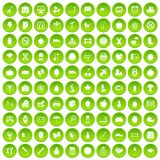 100 apple icons set green circle. Isolated on white background vector illustration Royalty Free Stock Images