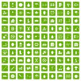 100 apple icons set grunge green. 100 apple icons set in grunge style green color isolated on white background vector illustration Stock Illustration