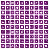 100 apple icons set grunge purple. 100 apple icons set in grunge style purple color isolated on white background vector illustration Stock Photos