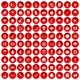 100 apple icons set red Stock Photos