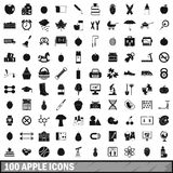 100 apple icons set, simple style. 100 apple icons set in simple style for any design vector illustration Royalty Free Stock Image