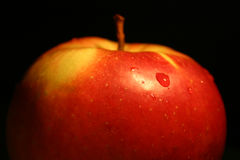 Apple II. Close-up of an apple against black background Stock Images