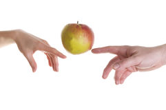 Apple illusion. Posed for michelangelo's creation mural Stock Image