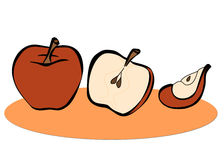 Apple illustration. A digital illustration of one, half and a slice of apple royalty free illustration