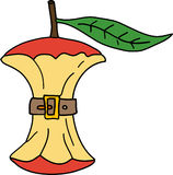 Apple Illustration. A apple core with a belt around it represents weight loss or diet royalty free illustration