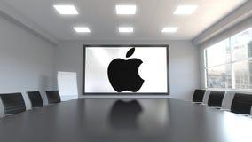 apple illustration imac inc λογότυπο στην οθόνη σε μια αίθουσα συνεδριάσεων Εκδοτική τρισδιάστατη απόδοση Διανυσματική απεικόνιση