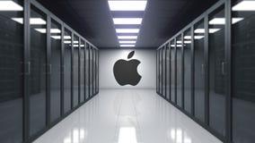 apple illustration imac inc λογότυπο στον τοίχο του δωματίου κεντρικών υπολογιστών Εκδοτική τρισδιάστατη απόδοση Διανυσματική απεικόνιση