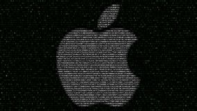 apple illustration imac inc λογότυπο φιαγμένο από δεκαεξαδικά σύμβολα στη οθόνη υπολογιστή Εκδοτική τρισδιάστατη απόδοση Ελεύθερη απεικόνιση δικαιώματος