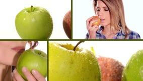 Apple im Weidenkorb, im Saft und in getrocknetem Apfel stock video footage