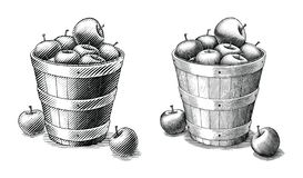 Free Apple In Basket Hand Drawing Vintage Style Black And White Clip Art Isolated On White Background.Compare Of Simple And Complex Royalty Free Stock Photography - 154062727