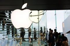 Apple Inc logo. At Hong Kong Apple store stock photography